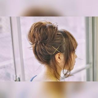 ヘアアレンジ 簡単ヘアアレンジ ナチュラル セミロング ヘアスタイルや髪型の写真・画像