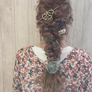 ヘアアクセ 外国人風カラー ガーリー ロング ヘアスタイルや髪型の写真・画像