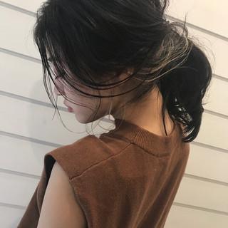ヘアアレンジ 黒髪 セミロング 簡単ヘアアレンジ ヘアスタイルや髪型の写真・画像