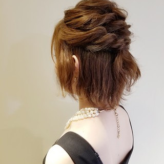 ボブ 結婚式 エレガント 結婚式ヘアアレンジ ヘアスタイルや髪型の写真・画像