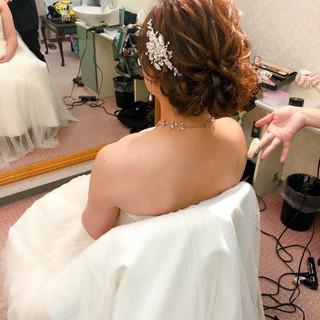 ヘアセット 結婚式 フェミニン アップ ヘアスタイルや髪型の写真・画像