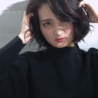ショート 大人かわいい 暗髪 簡単ヘアアレンジ ヘアスタイルや髪型の写真・画像