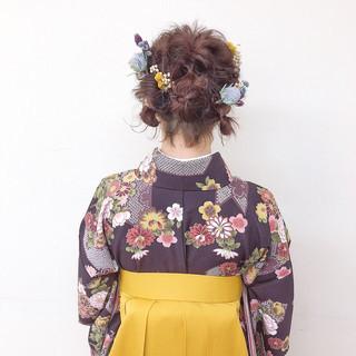 フェミニン パーマ 成人式 簡単ヘアアレンジ ヘアスタイルや髪型の写真・画像