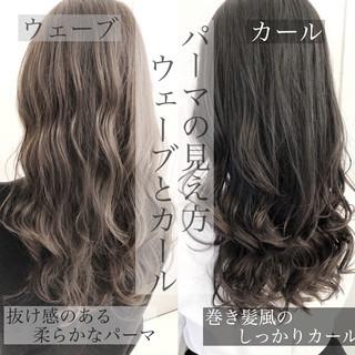 ゆるふわパーマ ロング デジタルパーマ グレージュ ヘアスタイルや髪型の写真・画像