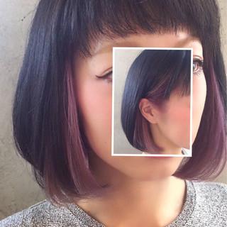 インナーカラー モード ピンク ベージュ ヘアスタイルや髪型の写真・画像