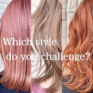 ナチュラル ピンク 切りっぱなしボブ ミルクティー ヘアスタイルや髪型の写真・画像