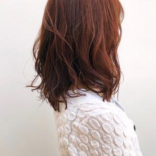 アプリコットオレンジ ナチュラル デート オレンジベージュ ヘアスタイルや髪型の写真・画像