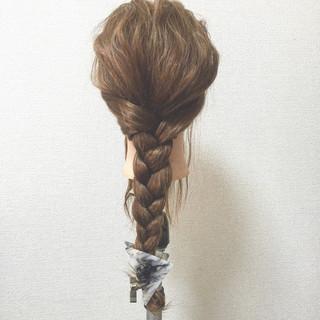 セミロング ヘアアレンジ 夏 ハーフアップ ヘアスタイルや髪型の写真・画像