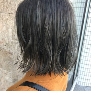 グレージュ ブルージュ ボブ ミニボブ ヘアスタイルや髪型の写真・画像