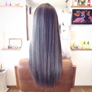 エレガント 外国人風カラー ロング メッシュ ヘアスタイルや髪型の写真・画像