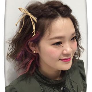ヘアアレンジ アッシュバイオレット ガーリー パープル ヘアスタイルや髪型の写真・画像