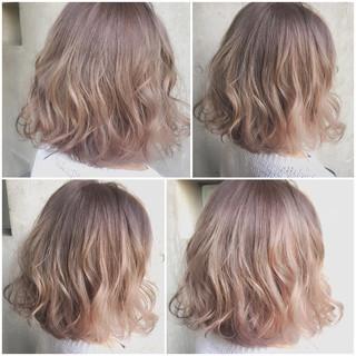 グラデーションカラー ハイライト ボブ ブラウン ヘアスタイルや髪型の写真・画像