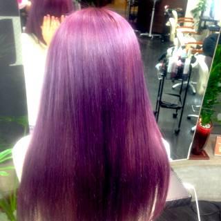 ハイトーン ラベンダー パープル ビビッドカラー ヘアスタイルや髪型の写真・画像