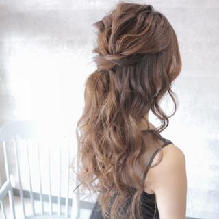 パーティ デート ロング 結婚式 ヘアスタイルや髪型の写真・画像