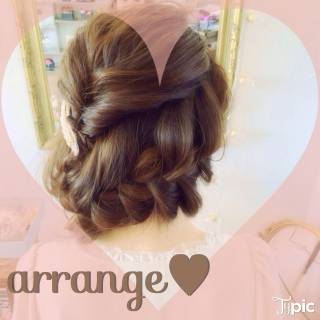 編み込み ゆるふわ モテ髪 ヘアアレンジ ヘアスタイルや髪型の写真・画像