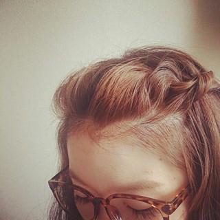 ヘアアレンジ 前髪アレンジ セミロング ヘアスタイルや髪型の写真・画像
