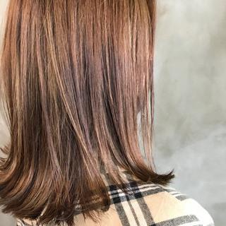 ブラウンベージュ 切りっぱなし オレンジベージュ ナチュラル ヘアスタイルや髪型の写真・画像
