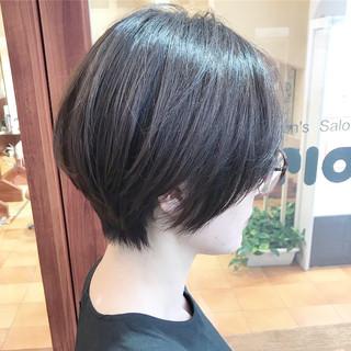 ハンサムショート 大人かわいい グレージュ 黒髪 ヘアスタイルや髪型の写真・画像