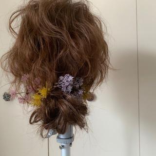 波ウェーブ セミロング ゆるふわ 簡単ヘアアレンジ ヘアスタイルや髪型の写真・画像