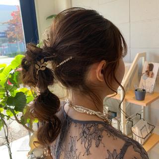 ヘアアレンジ 簡単ヘアアレンジ セミロング ゆるウェーブ ヘアスタイルや髪型の写真・画像