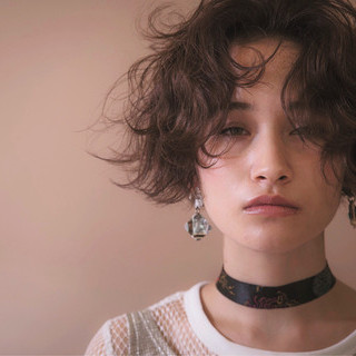 ショート アンニュイ ストリート パーマ ヘアスタイルや髪型の写真・画像