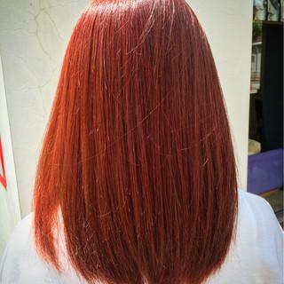 ガーリー ダブルカラー レッド ロング ヘアスタイルや髪型の写真・画像