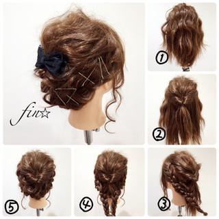 ヘアアレンジ 簡単ヘアアレンジ セミロング 大人かわいい ヘアスタイルや髪型の写真・画像