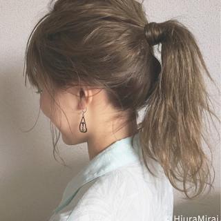 簡単ヘアアレンジ アウトドア セミロング 涼しげ ヘアスタイルや髪型の写真・画像