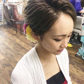 女子力 成人式 ミディアム エレガント ヘアスタイルや髪型の写真・画像