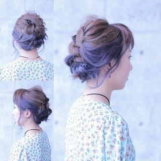 ミディアム ラベンダーアッシュ インナーカラー パーティ ヘアスタイルや髪型の写真・画像