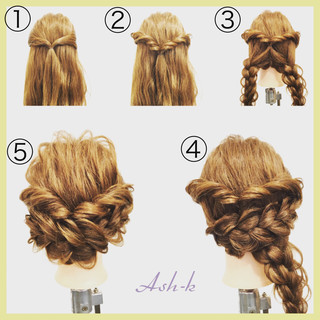 三つ編み セミロング 結婚式 簡単ヘアアレンジ ヘアスタイルや髪型の写真・画像