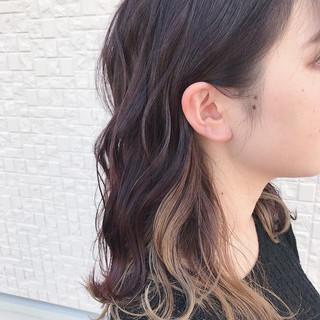 ストリート セミロング 外国人風 インナーカラー ヘアスタイルや髪型の写真・画像