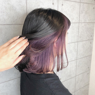 インナーカラー ボブ パープル インナーカラーパープル ヘアスタイルや髪型の写真・画像