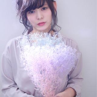 セミロング ヘアアレンジ 結婚式 編み込み ヘアスタイルや髪型の写真・画像