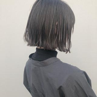 ボブ 切りっぱなしボブ 透明感カラー ストリート ヘアスタイルや髪型の写真・画像