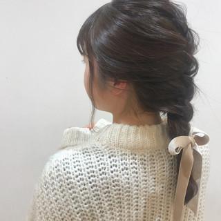 三つ編み ミディアム ヘアアレンジ デート ヘアスタイルや髪型の写真・画像