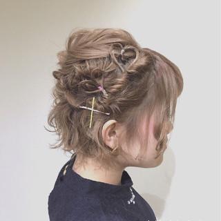 デート 簡単ヘアアレンジ フェミニン ショート ヘアスタイルや髪型の写真・画像