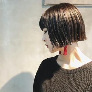 ストリート ボブ ブルーブラック ミニボブ ヘアスタイルや髪型の写真・画像