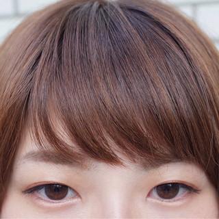 ガーリー シースルーバング ハイライト 前髪あり ヘアスタイルや髪型の写真・画像