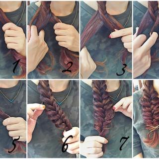 セミロング 簡単ヘアアレンジ フィッシュボーン ヘアアレンジ ヘアスタイルや髪型の写真・画像
