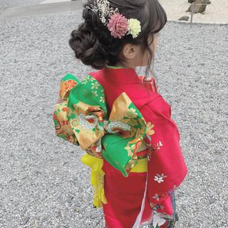着物 ガーリー 和装 子供 ヘアスタイルや髪型の写真・画像
