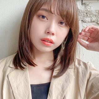 デジタルパーマ 縮毛矯正 ナチュラル セミロング ヘアスタイルや髪型の写真・画像