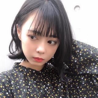 フェミニン かわいい 黒髪 ボブ ヘアスタイルや髪型の写真・画像