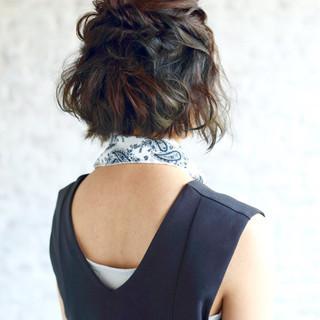 ハーフアップ ヘアアレンジ 簡単ヘアアレンジ 暗髪 ヘアスタイルや髪型の写真・画像