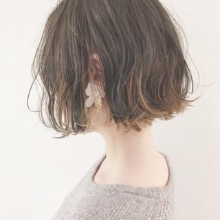 ゆるふわ 大人かわいい ナチュラル ボブ ヘアスタイルや髪型の写真・画像