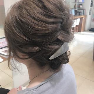 結婚式 編み込み ミディアム 簡単ヘアアレンジ ヘアスタイルや髪型の写真・画像