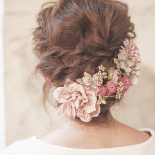 大人かわいい ショート 簡単ヘアアレンジ 結婚式 ヘアスタイルや髪型の写真・画像