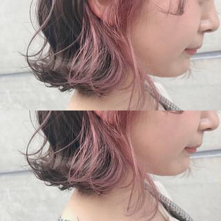 ガーリー ピンク ボブ 女子力 ヘアスタイルや髪型の写真・画像