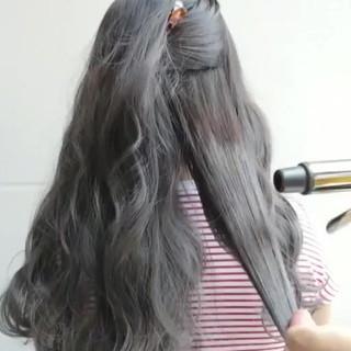 グレーアッシュ アッシュグレージュ ロング グレージュ ヘアスタイルや髪型の写真・画像