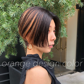 インナーカラー ショートヘア モード ショートボブ ヘアスタイルや髪型の写真・画像
